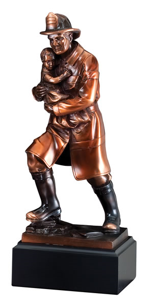 Fireman with Child Deluxe Trophy - 11.5""